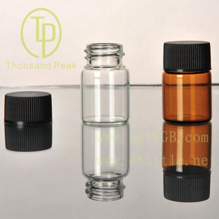 TP-1-08 5ml clear glass vials with black cap