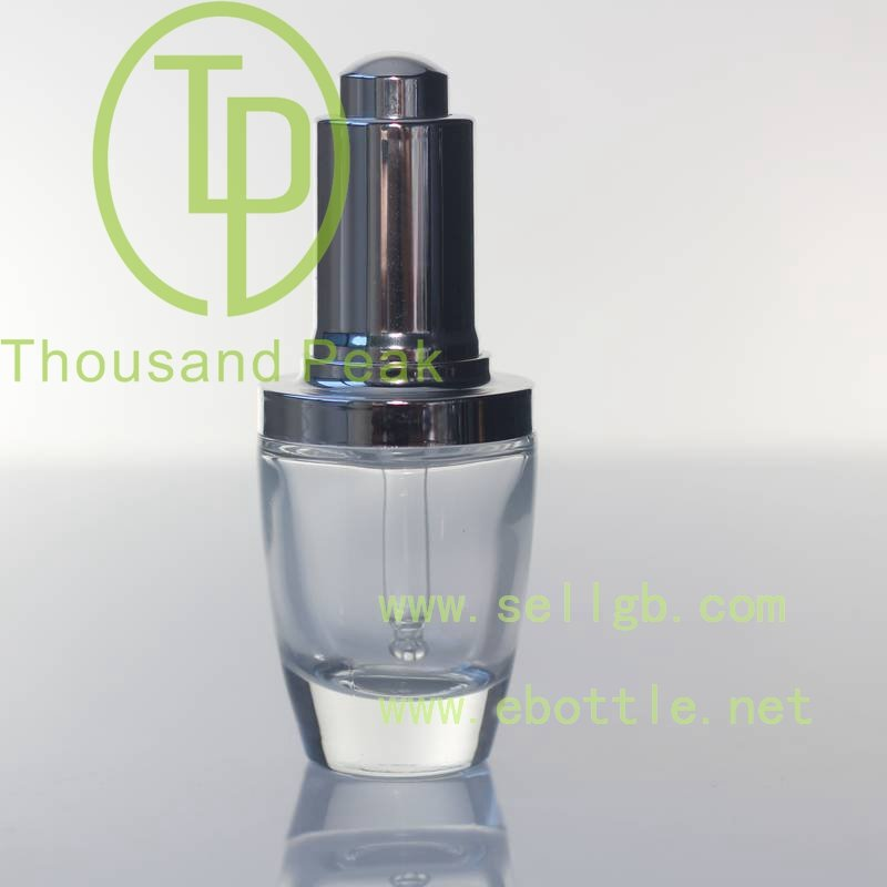 30ml dropper bottle make up cosmetics glass dropper aluminum cap round/square shape bottle
