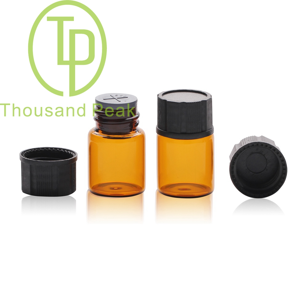 TP-1-088 5ml clear glass vials with black cap