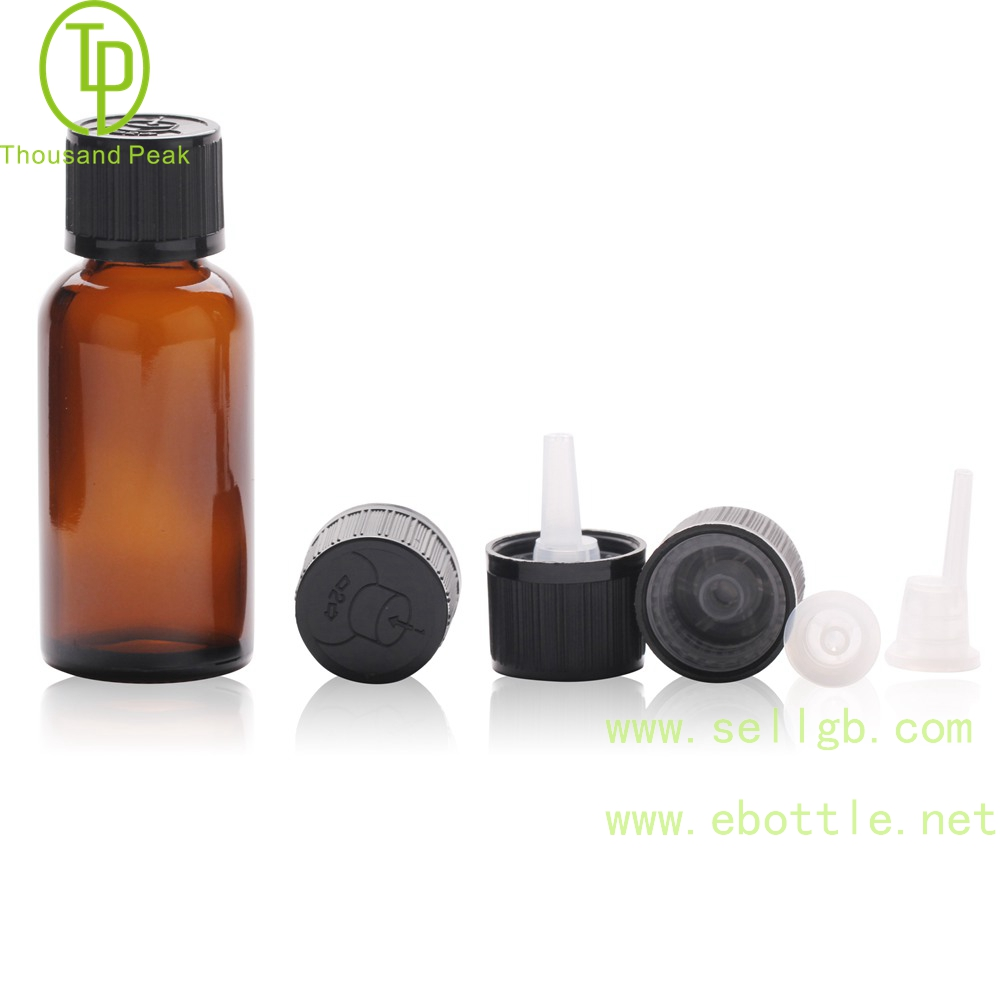 TP-2-62 glass bottle with Black child resistant tamper evident cap and orifice reducer