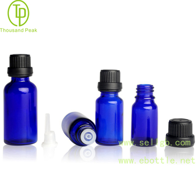 TP-2-20 Cobalt Blue glass bottle with tamper evident cap and orifice reducer
