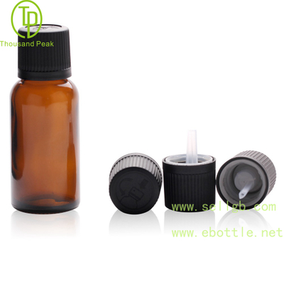 TP-2-63 30ml amber glass bottle with Black child resistant tamper evident cap and orifice reducer